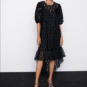 Zara Black Asymmetrical Lace Dress Size Large